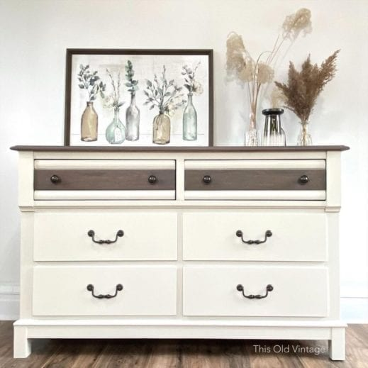 dresser painted in off white china white clay furniture paint by MudPaint