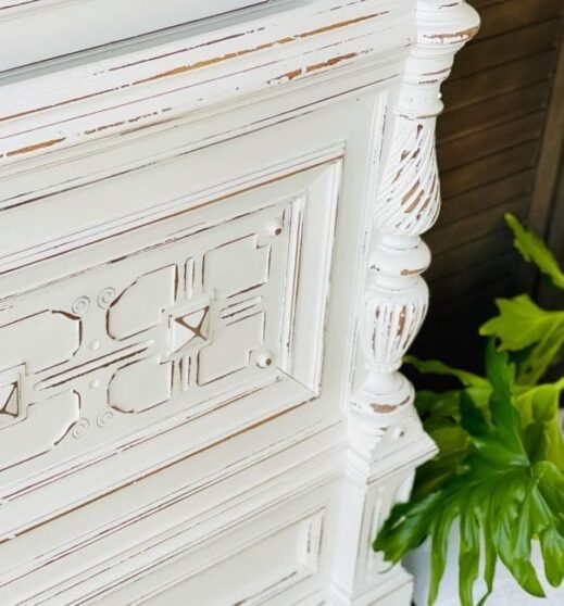 bed headboard painted in pure white clay furniture paint by MudPaint