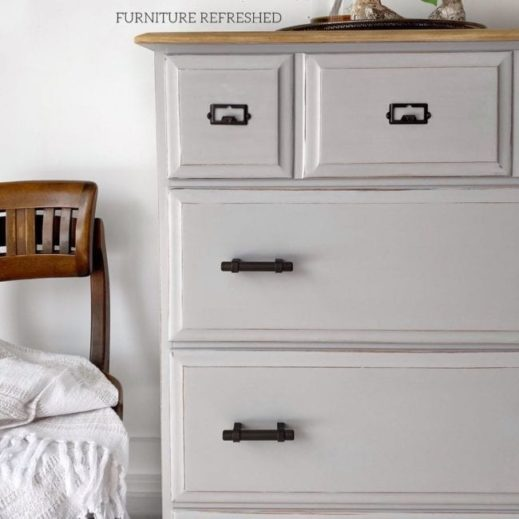 dresser painted in MudPaint light gray furniture paint