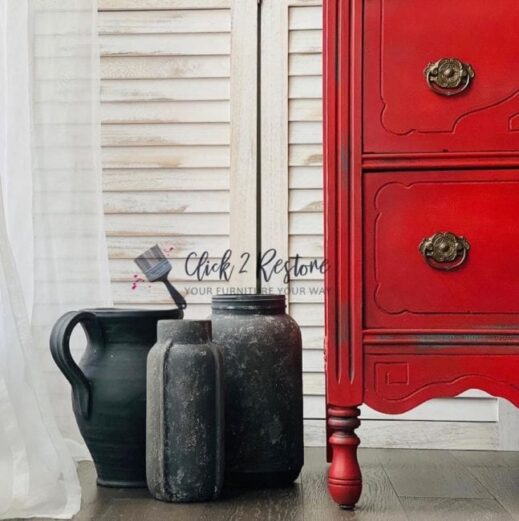 small dresser painted in red clay furniture paint color by MudPaint