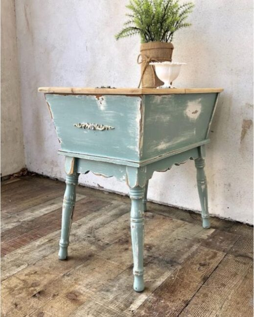 nightstand painted in light blue clay furniture paint by MudPaint