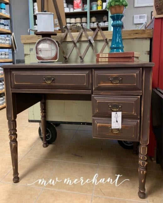 small desk painted in dark brown clay furniture paint from MudPaint