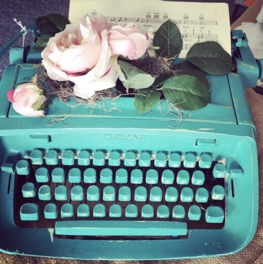 typewriter painted with turquoise clay furniture paint by MudPaint