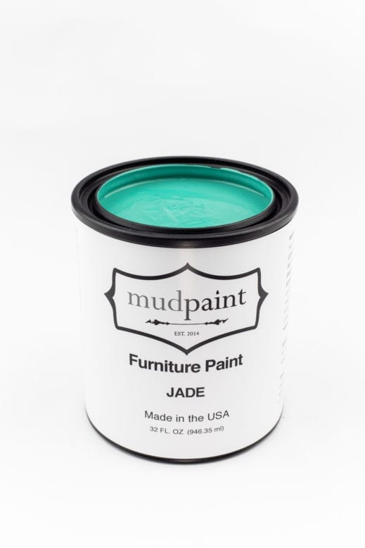 quart container of turquoise clay furniture paint by MudPaint