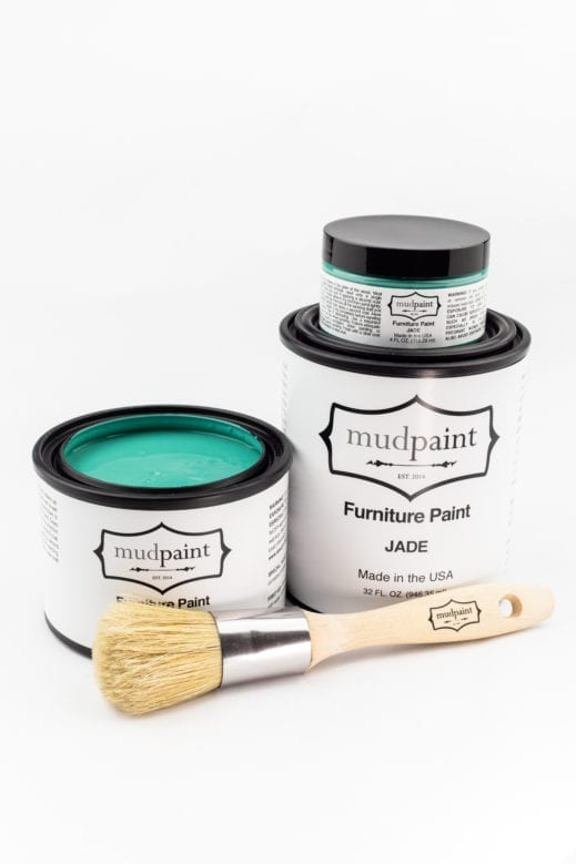 containers of turquoise clay furniture paint by MudPaint