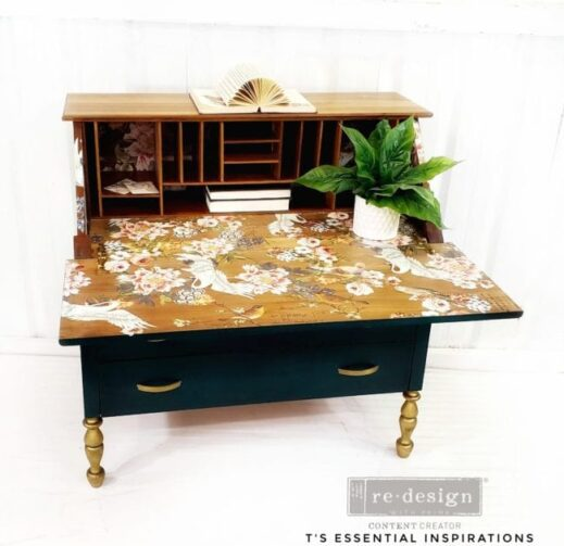 large desk painted with dark green clay furniture paint