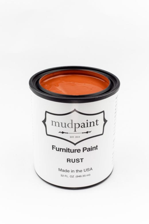 quart container of rust clay furniture paint by MudPaint